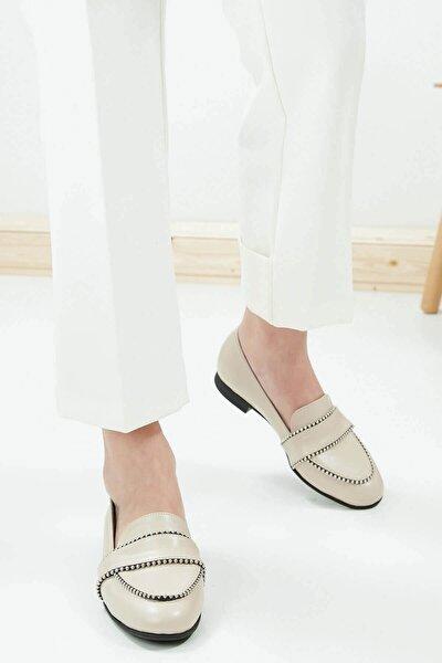 Robin Kadın Ten Deri Zımbalı Loafer Ayakkabı