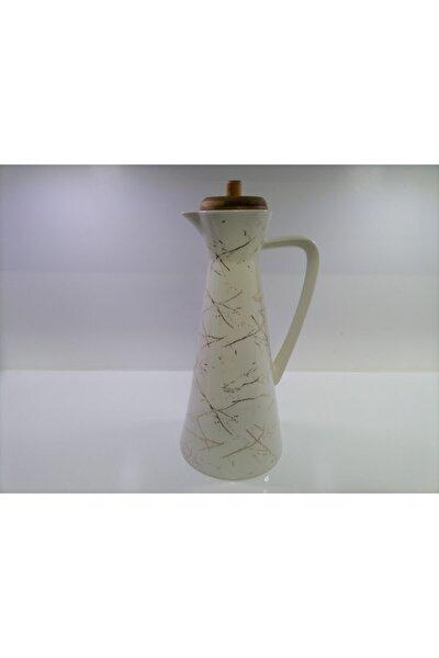 Bambu Kapak Mermer Desen Lüx Porselen Yağdanlık  19 cm