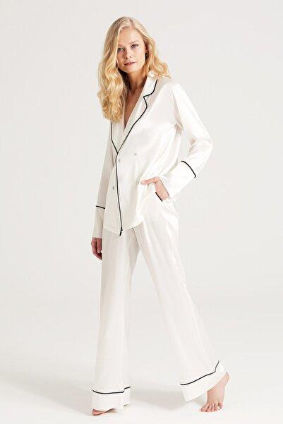 Saf Ipek Pijama Takımı Biyeli Kırık Beyaz