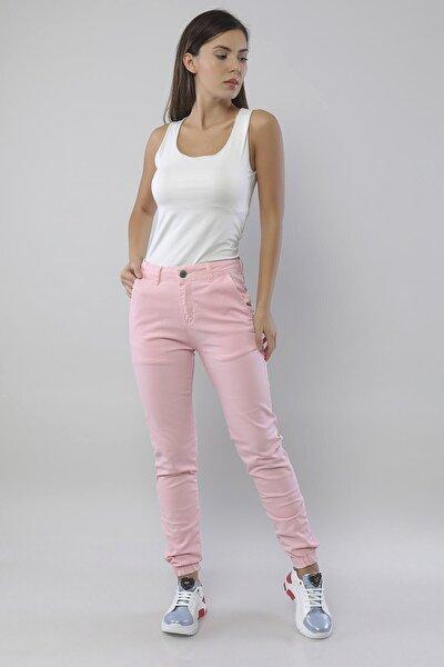 Paçası Lastikli Pembe Kadın Jogger Pantolon