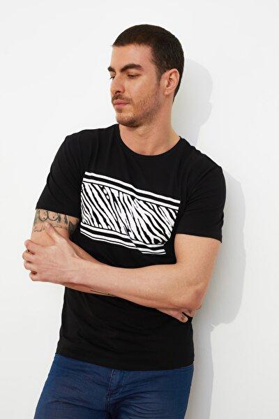 Siyah Erkek Slim Fit Kısa Kollu Baskılı T-Shirt TMNSS21TS0151