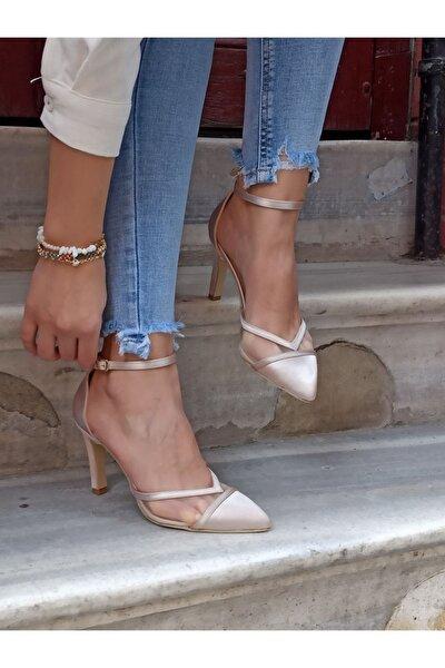 Kadın Ten Saten Topuklu Ayakkabı
