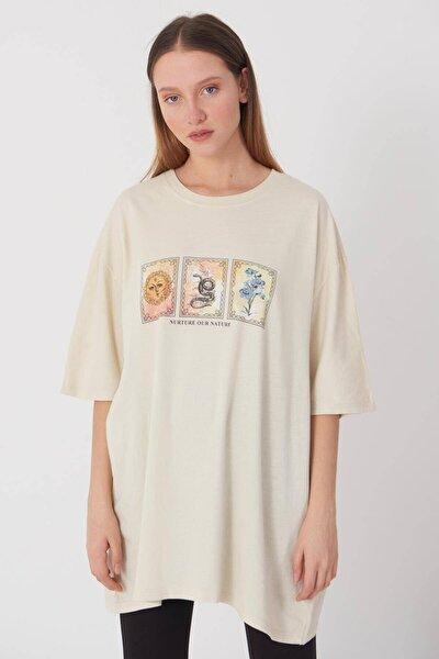 Kadın Taş Baskılı T-Shirt P9383 - D5 Adx-0000021582