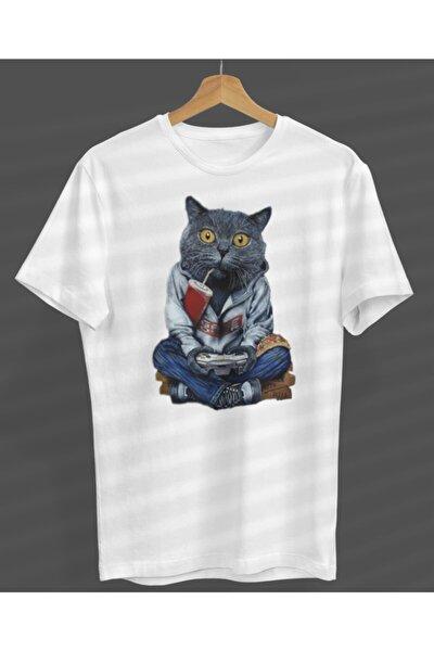 Unisex Özel Tasarım Beyaz Yuvarlak Yaka T-shirt