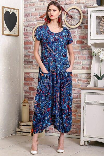 Kadın Petrol Mavi Bohem Şal Desen Asimetrik Cepleri Püskül Detaylı Dokuma Elbise