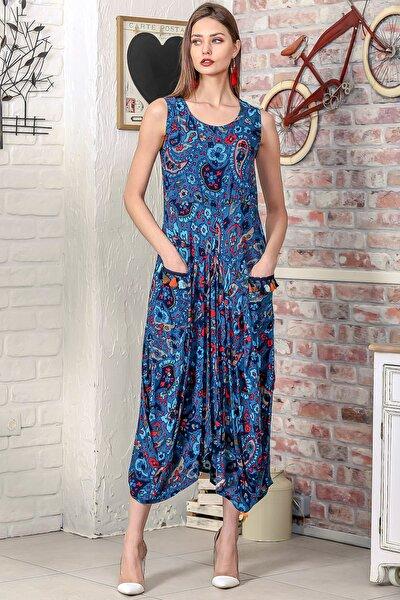 Kadın Petrol Mavi Bohem Kolsuz Şal Desen Asimetrik Cepleri Püskül Detaylı Dokuma Elbise