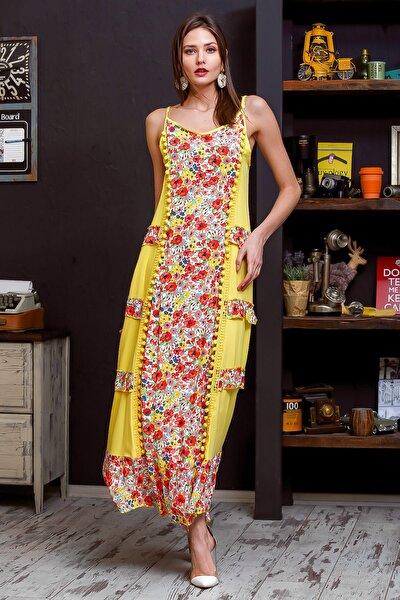 Kadın Sarı İp Askılı Çıtır Çiçek Desenli Yanları Fırfırlı Bloklu Ponponlu Uzun Elbise