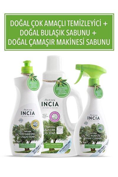 Doğal Çok Amaçlı Temizleyici 500 ml + Doğal Bulaşık Sabunu 500 ml + Doğal Çamaşır Makinesi Sabunu