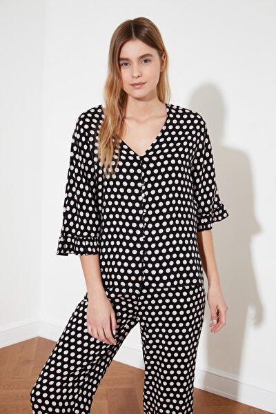 Siyah Fırfırlı Dokuma Pijama Takımı THMSS21PT0127
