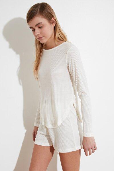 Beyaz Kaşkorse Örme Pijama Takımı THMSS21PT0268