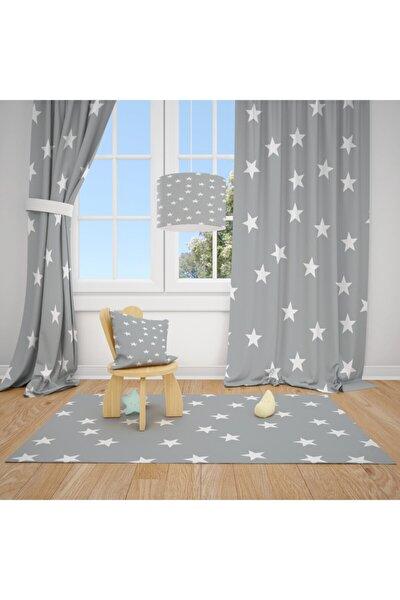 2 Kanat Gri Zemin Beyaz Yıldızlar Çocuk Bebek Odası Perdesi Fon Perde