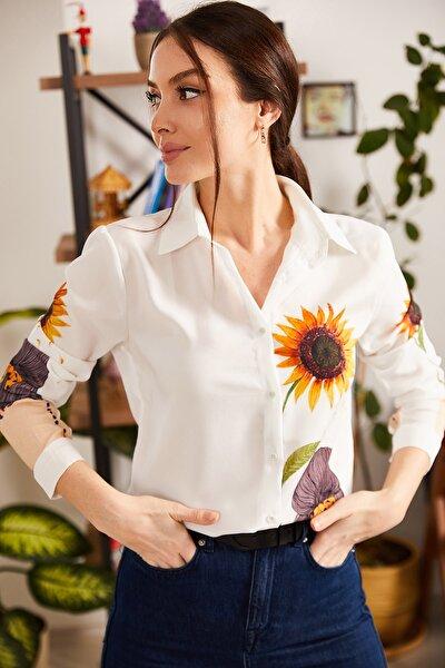 Kadın Turuncu Dijital Baskılı Gömlek ARM-21K106019