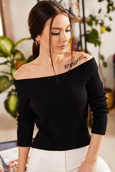 Kadın Siyah Kayık Kaya Uzun Kol Bluz ARM-21K108025