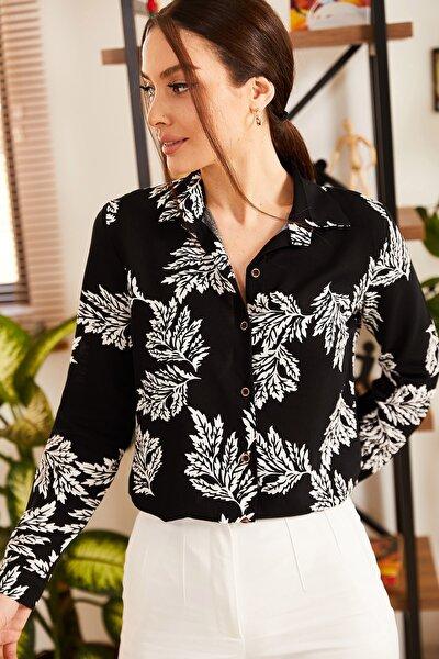 Kadın Siyah Büyük Yaprak Desenli Uzun Kol Gömlek ARM-21K001129