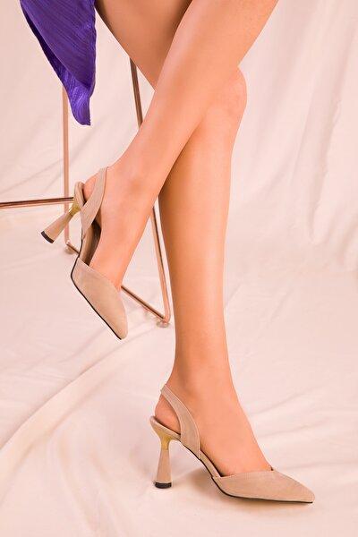 Ten Süet Kadın Klasik Topuklu Ayakkabı 15869