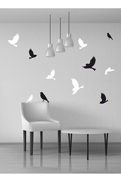 Uçan Kuşlar Dekoratif Duvar Sticker Kuş Sürüsü Siyah Beyaz (22 Adet) Ths01-01-22