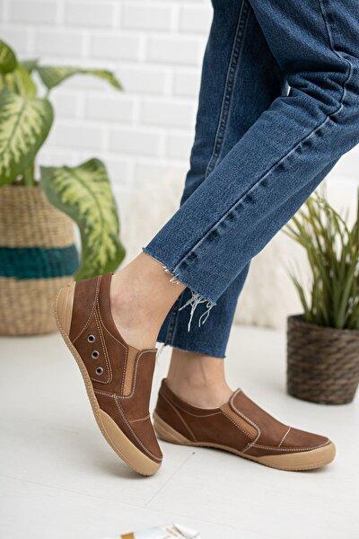 Ortapedik Ped Kadın Taba Kot Ayakkabı