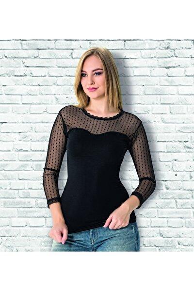 Kadın Siyah Puantiyeli Uzun Kollu Bluz