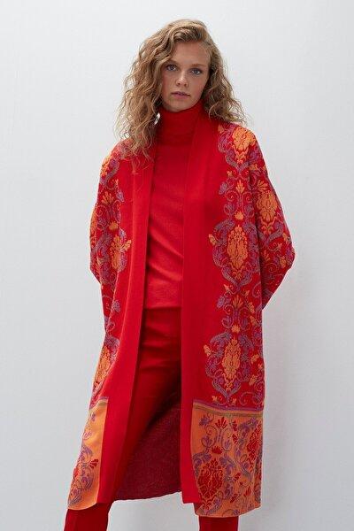 Kadın Kırmızı Desenli Multi Triko Hırka