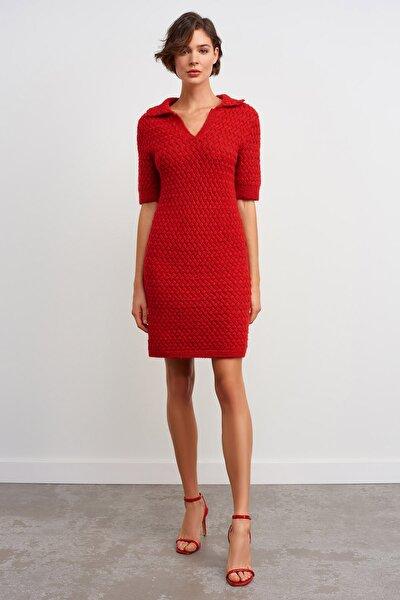 Polo Yaka Simli Triko Elbise-kırmızı