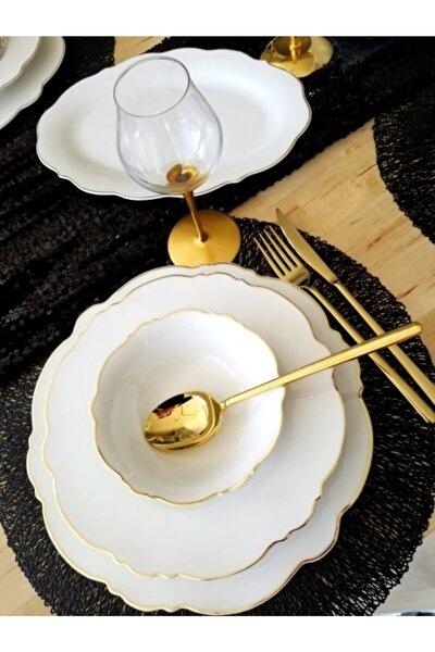 Gold Şeritli 51 Parça 12 Kişilik Bone Porselen Yemek Takımı