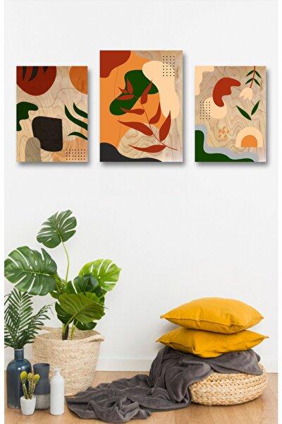 Minimalist Yapraklar Tablo Sayılarla Ahşap Boyama Hobi Seti 35x50 cm 3'lü