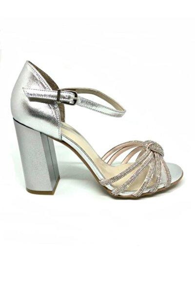 Kadın Lame Hakiki Deri Taşlı Topuklu Ayakkabı 2793