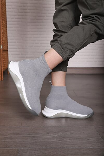 Kadın Gri Triko Günlük Spor Ayakkabı Streç Çorap Sneaker