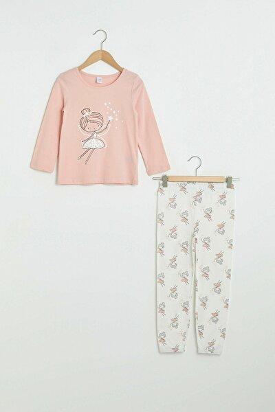 Kız Çocuk Açık Pembe V08 Pijama Takımı