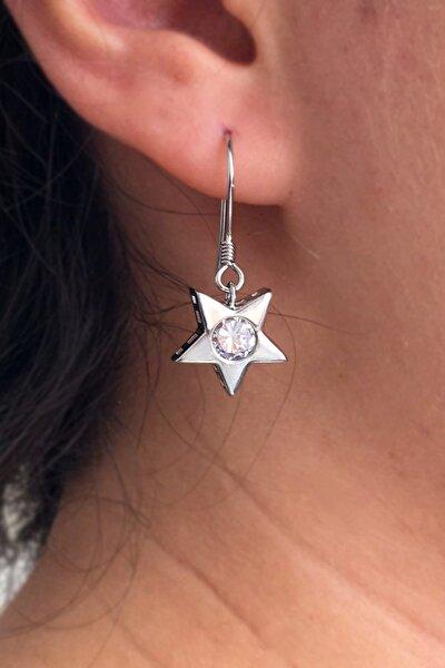 Kadın Yıldız Model Gümüş Küpe