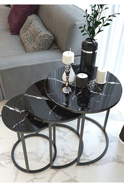 Siyah Mermer Desen Metal Zigon Sehpa ( Kırılmaz Cam )