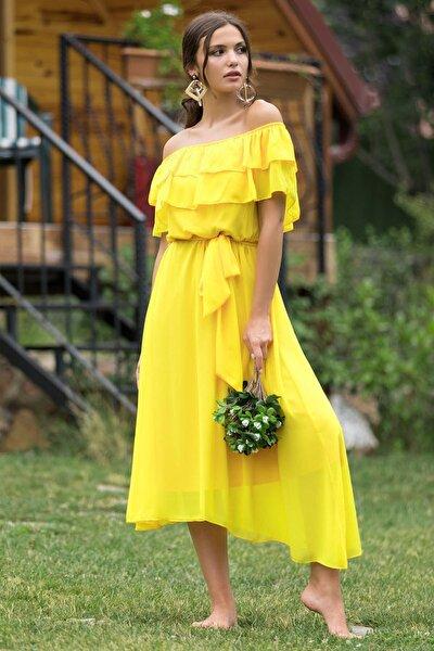 Kadın Sarı Madonna Fırfır Yaka Şifon Elbise