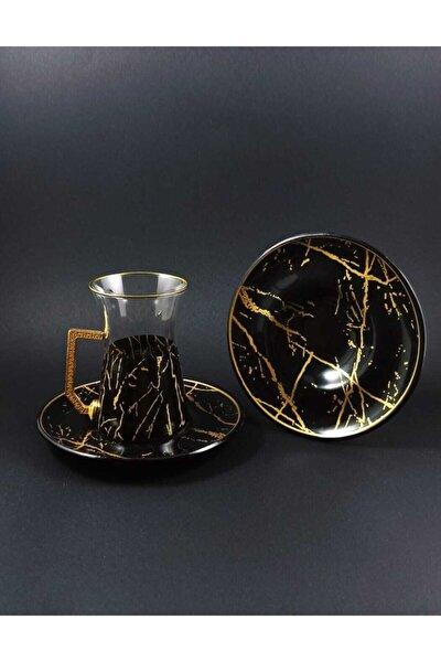 12 Parça Siyah Mermer Desen Çay Takımı Seti