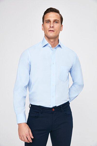 Erkek Regular Fit Mavi Düz Gömlek