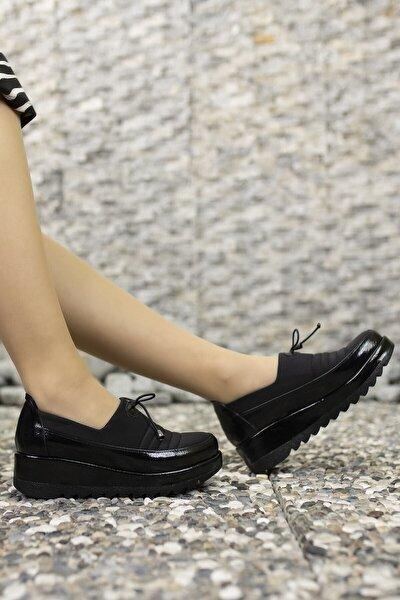 Kadın Siyah Rugan  Günlük Ayakkabı 001230