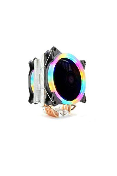 T6 6 Bakır Borulu Rainbow Çift Fan Ledli Güçlü Cpu Fanı