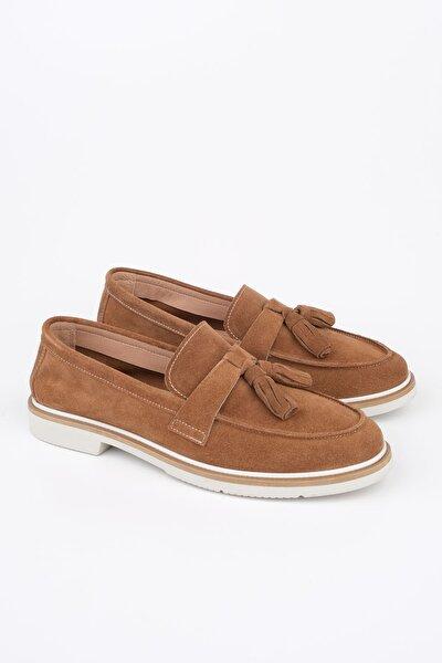 Kadın Taba Süet Hakiki Deri Comfort Loafer Ayakkabı Teksa