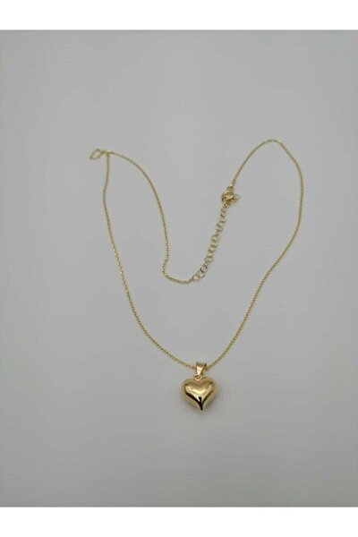 Kadın Kalp Figürlü Gümüş Kolye Gold Renk
