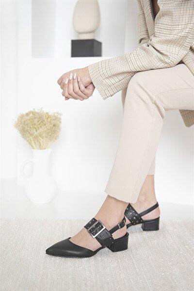 Amelia Deri Topuklu Ayakkabı Siyah