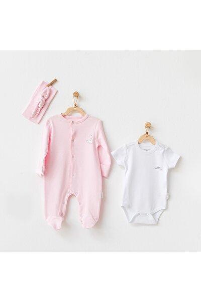 Kız Bebek Pembe Tulum Takım 3 Parça Romper Set