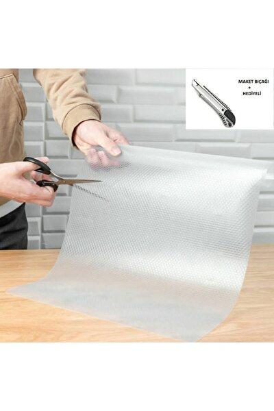 Şeffaf Kaydırmaz Raf Dolap Ve Çekmece Örtüsü 45 Cm X 10 Metre + Maket Bıçağı Hediyeli