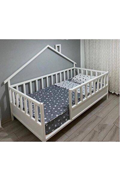Beyaz Doğal Ahşap Yatak Montessori Bebek ve Çocuk Karyolası