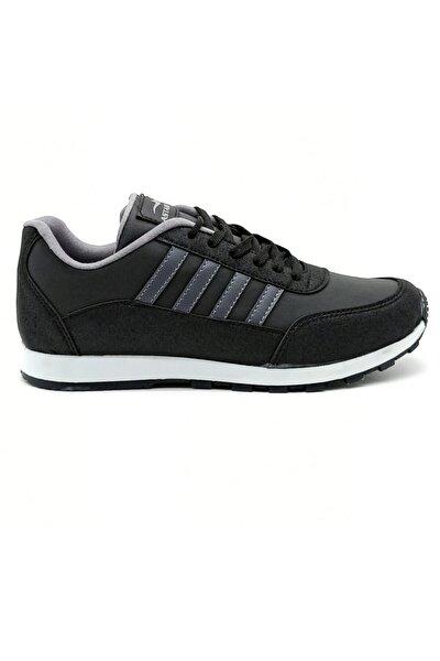 Erkek Siyah Füme Spor Ayakkabı Günlük Snekaer