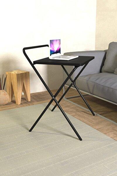 Laptop Masası Katlanabilir Çalışma Masası Koltuk Sehpası 52x41 Cm Masa - Siyah