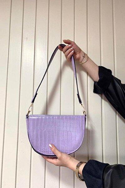 Kadın Mor Timsah Derisi Baget Çanta