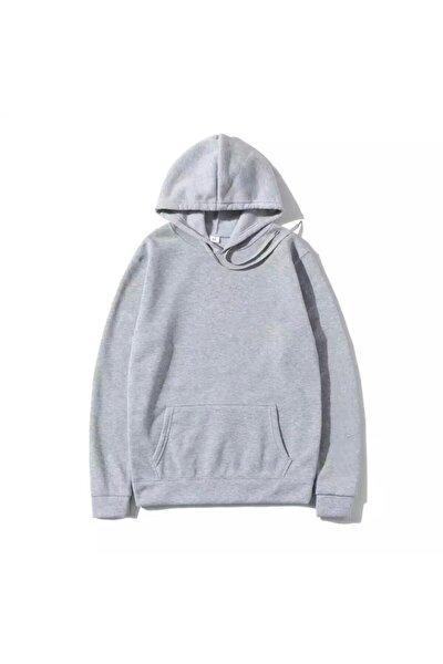 Erkek Gri Düz Uzun Kollu Sweatshirt