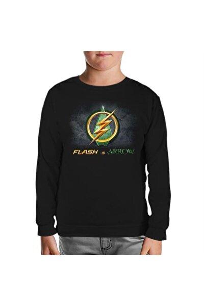 Unisex Çocuk Siyah Flash Vs Arrow Sweatshirt
