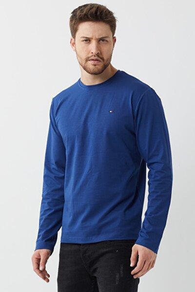 Man Indigo Bisiklet Yaka Erkek Düz Basic Ince Sweatshirt