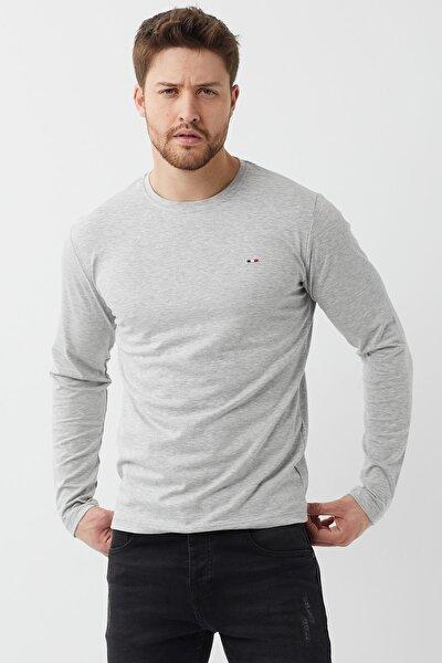 Erkek Gri Bisiklet Yaka  Düz Basic Ince Sweatshirt