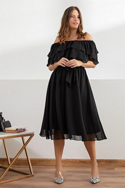 Fırfır Yaka Büyük Beden Şifon Elbise